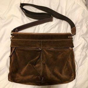 Coach Brown Suede Messenger Style Shoulder Bag